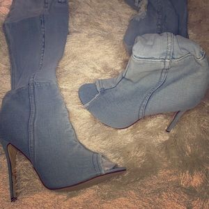 Brand New Open toe Blue Jean Heel Boots!